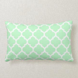 Mint White Moroccan Quatrefoil Pattern #5 Lumbar Pillow