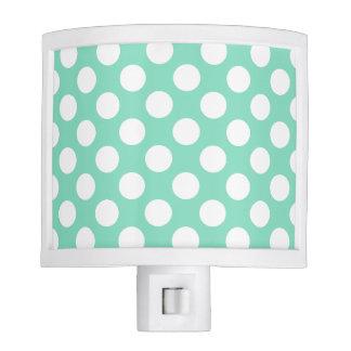 Mint White Polka Dots - Night Light