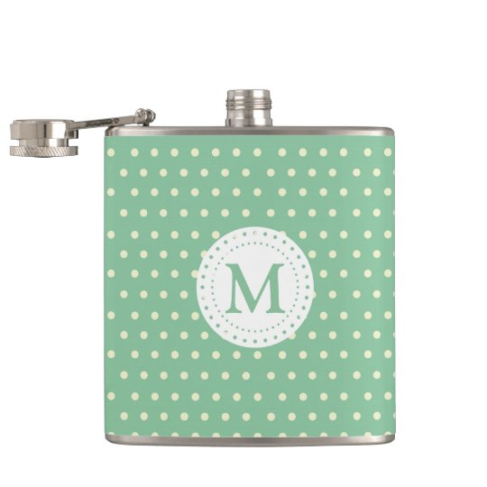 Mint White Polka Dots Pattern   Monogram Hip Flask