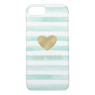 Mint White Watercolor Stripes Gold Heart Case-Mate iPhone Case