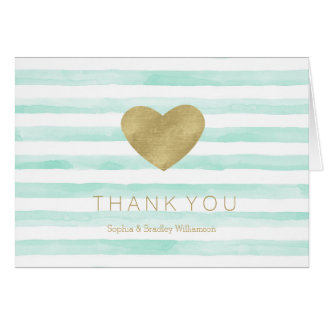 Mint White Watercolor Stripes Gold Heart Thank you Card