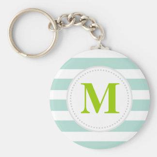 Mint Wide Stripes Custom Monogram Keychain