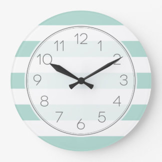 Mint Wide Stripes Wallclock