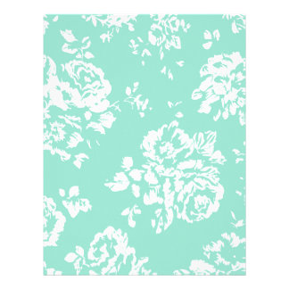 Mint with White Floral Pattern Letterhead Design