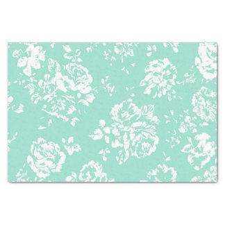 Mint with White Floral Pattern Tissue Paper