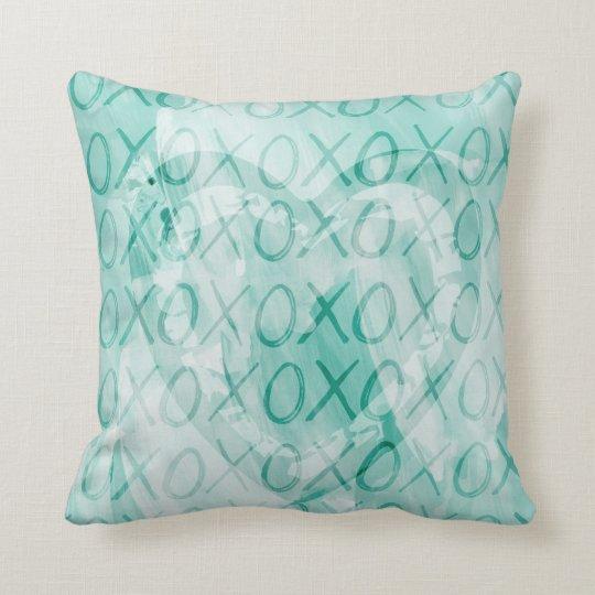Mint XOXO Throw Pillow
