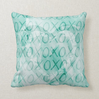 Mint XOXO Throw Pillow