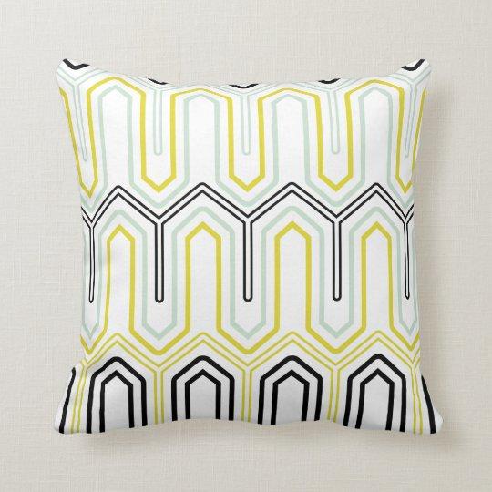 Mint & Yellow Geometric Pattern Decorative Pillow