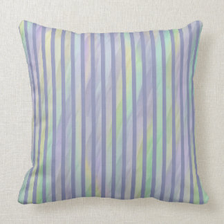 Mint Yellow Lilac Abstract Stripe Throw Pillow
