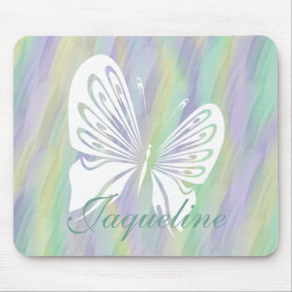 Mint Yellow Lilac Butterfly Mouse Pad