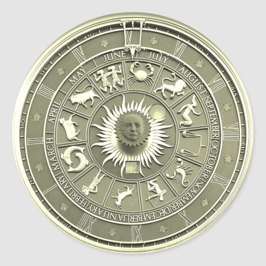 Mint Zodiac Wheel Classic Round Sticker