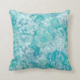 Minty blue aqua brush paint pillow