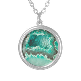 Minty Geode Crystals Silver Plated Necklace