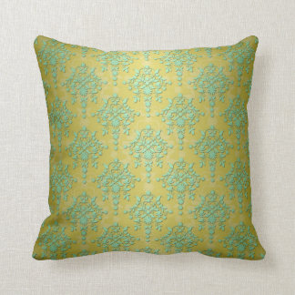 Minty Green and Olive Gold Damask For Names Throw Pillow