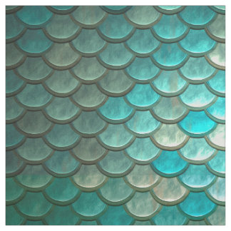 Minty Green Mermaid fish scales pattern Fabric