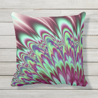 Minty Green Purple Feathers Outdoor Pillow