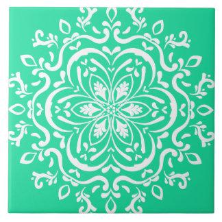 Minty Mandala Ceramic Tile