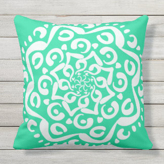 Minty Mandala Outdoor Pillow