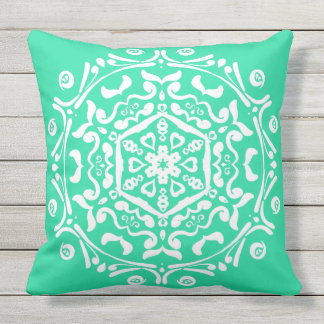 Minty Mandala Outdoor Pillow