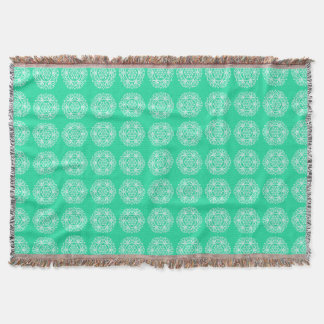Minty Mandala Throw Blanket