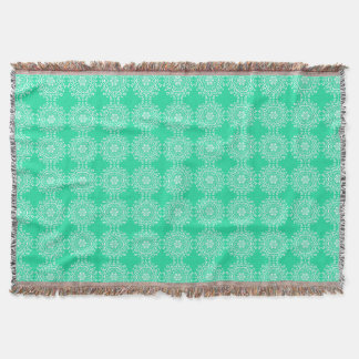 Minty Mandala Throw Blanket