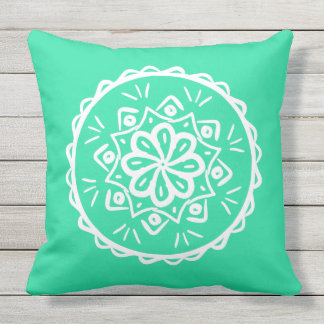 Minty Mandala Throw Pillow