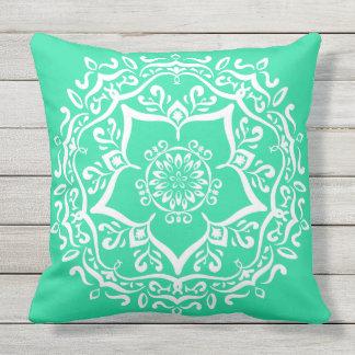 Minty Mandala Throw Pillow