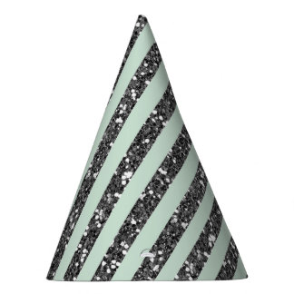 Minty Mint Green & Silver Glitter Stripes Party Party Hat