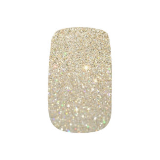 Minx Nails - Gold Glitter Dark Base Minx Nail Art