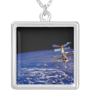 Mir Space Station floating above the Earth Silver Plated Necklace