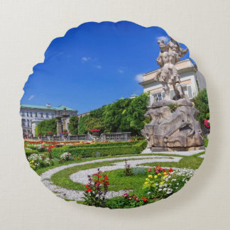 Mirabell palace and gardens, Salzburg, Austria Round Pillow