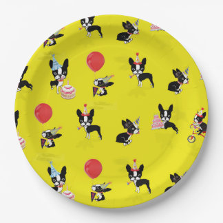 Mirabelle the boston terrier birthday paper plates 9 inch paper plate