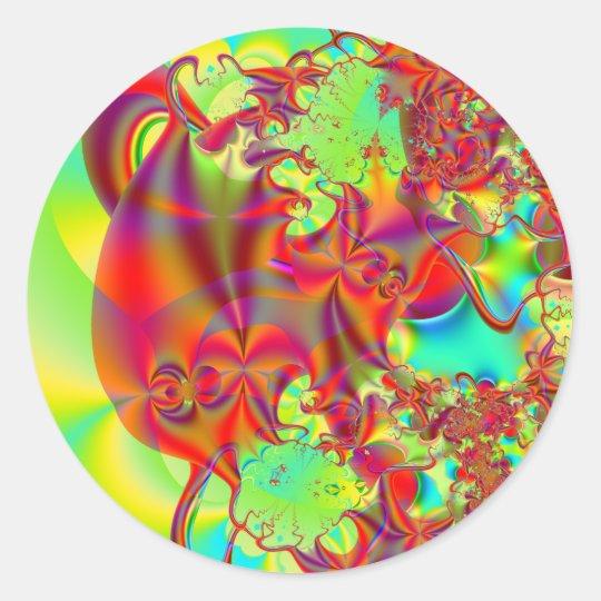 Mirador II · Fractal Art · Red & Green Classic Round Sticker