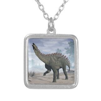Miragaia dinosaur - 3D render Silver Plated Necklace