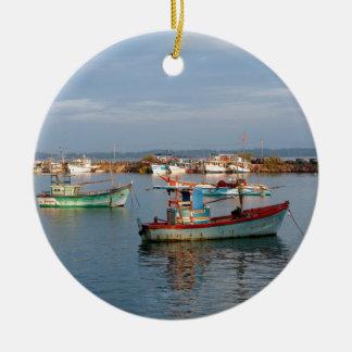 Mirissa Sri Lanka Fishing boats Ceramic Ornament