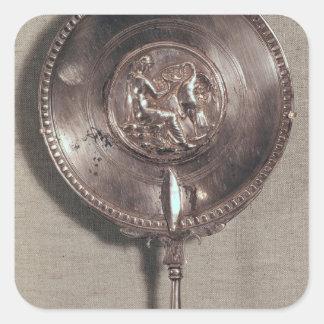 Miroir de main dépeignant Léda et le cygne Sticker Carré