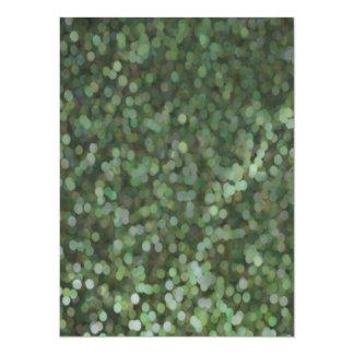 Miroitement de scintillement peint par vert carton d'invitation  13,97 cm x 19,05 cm