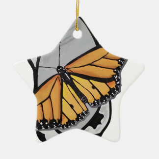 Mirror Butterfly Ceramic Star Ornament