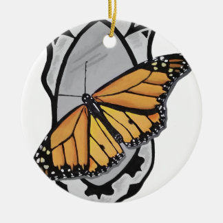 Mirror Butterfly Round Ceramic Ornament