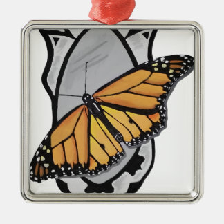 Mirror Butterfly Silver-Colored Square Ornament