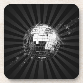Mirror Disco Ball on Black Coaster