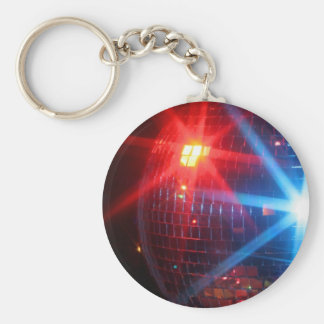 Mirror disco rotating ball with laser lights basic round button keychain
