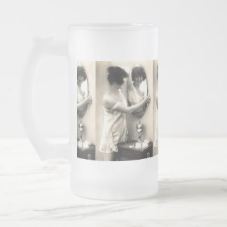 Mirror Mirror Vintage Erotica Pin-Up Girl Frosted Glass Beer Mug