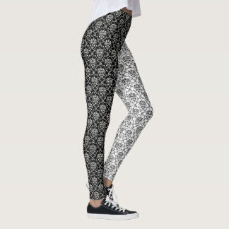 Mirror Opposites Black and White Damask Leggings