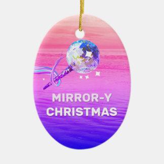 Mirror-y Christmas Ceramic Ornament