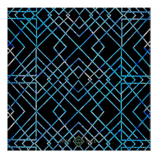 Mirrored Blue on Black Poster