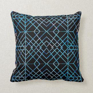 Mirrored Blue on Black Throw Pillow
