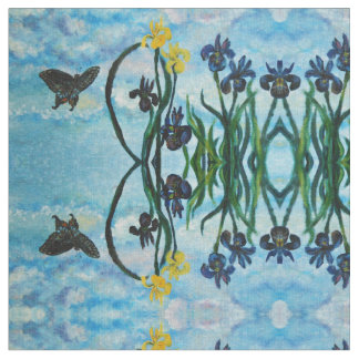 Mirrored Butterfly and Iris Sky Fabric