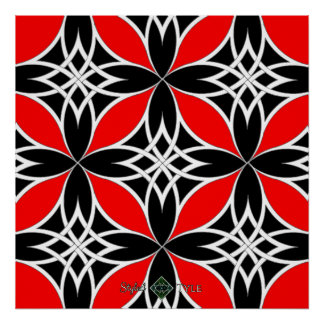 Mirrored Celtic ( Flutterby Red ) Poster