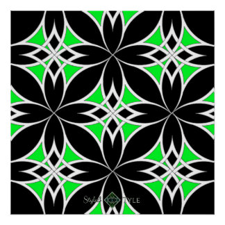 Mirrored Celtic ( Green ) Poster